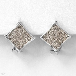 New Earrings w/Princess Cut Diamonds 14K WG