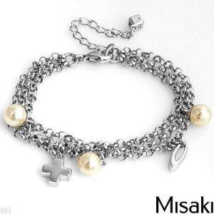 New MISAKI Bracelet W/Faux Pearls in 925 Sterling Silve