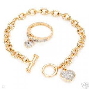 Majestic Bracelet  & Ring Set w/Genuine Diamonds