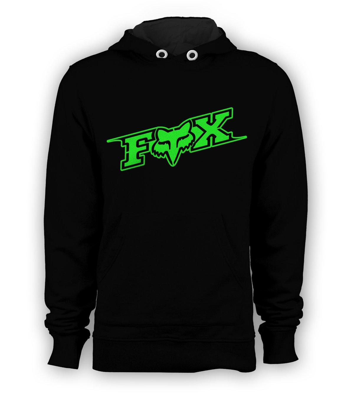 Fox Racing Green Logo Pullover Hoodie Men BMX Skateboard X-Games Sweatshirts Size S to 3XL New Black