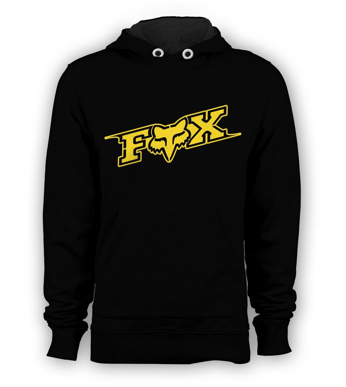 Fox Racing Gold Logo Pullover Hoodie Men BMX Skateboard X-Games Sweatshirts Size S to 3XL New Black
