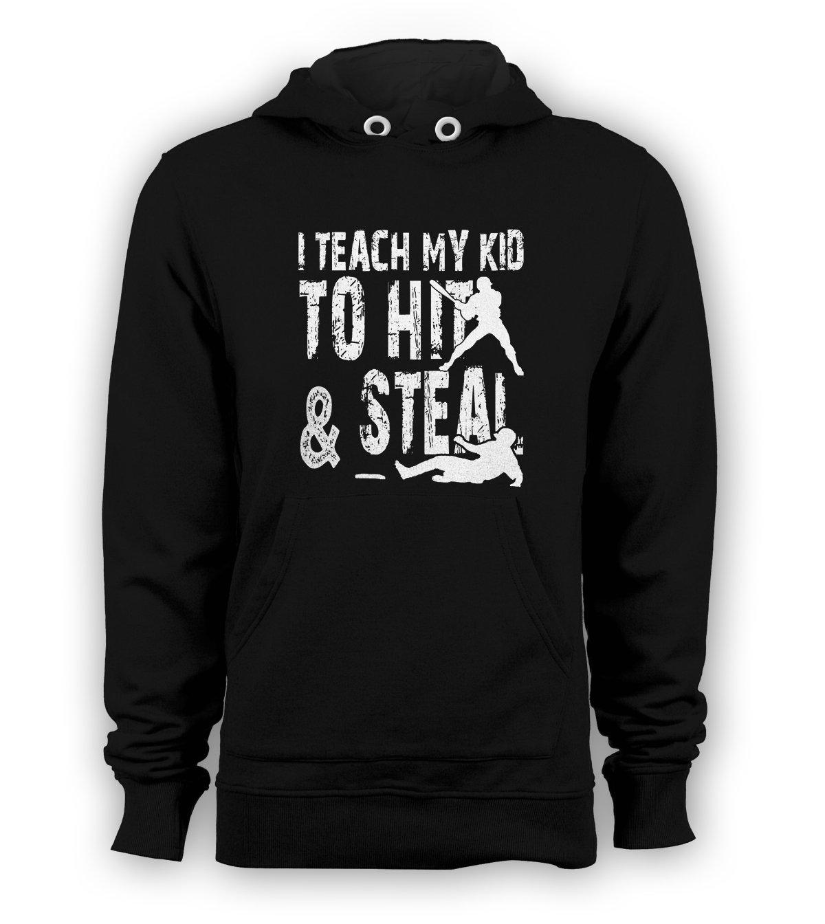 I Teach My Kid To Hit & Steal Pullover Hoodie Baseball Men Sweatshirts Black New