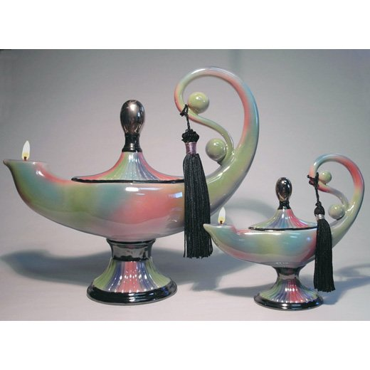 NUHA Genie of KNOWLEDGE Ceramic Oil Lamp Small 6 inch #2011 - Aladdins lamp
