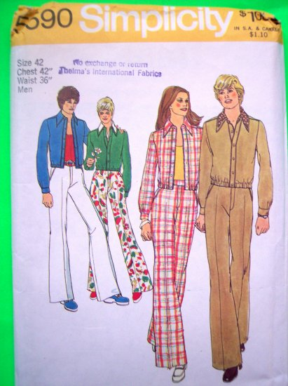 Vintage Sewing Pattern 1970's Big Mens 42 Unlined Jacket Pants Leisure Suit Simplicity 5590