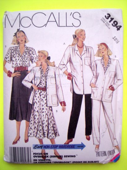 Uncut 80's Vintage Sewing Pattern Blouse Skirt Pants Wardrobe Plus Size 18 1/2 McCall's 3194