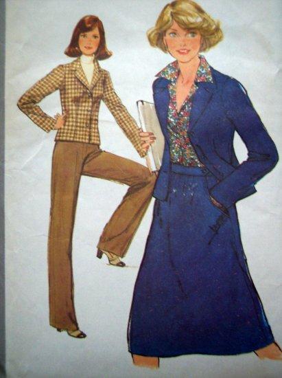 Uncut 70's Vintage Skirt Pants Unlined Jacket B 34 Sz 12 Simplicity Sewing Pattern 8315