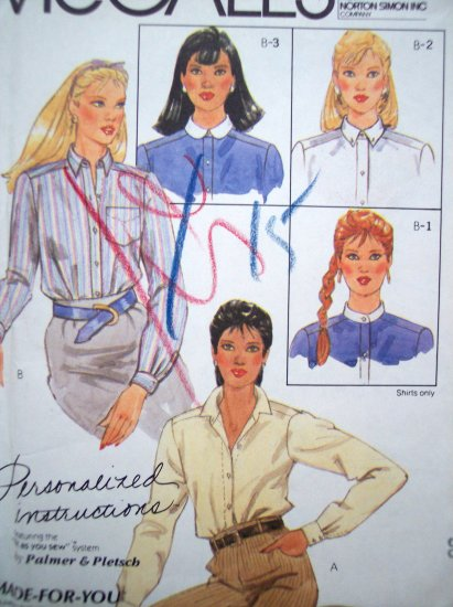 80's Shirts Blouse Long Sleeve Button Up Tops B 36 Sz 14 McCalls Sewing Pattern 8649