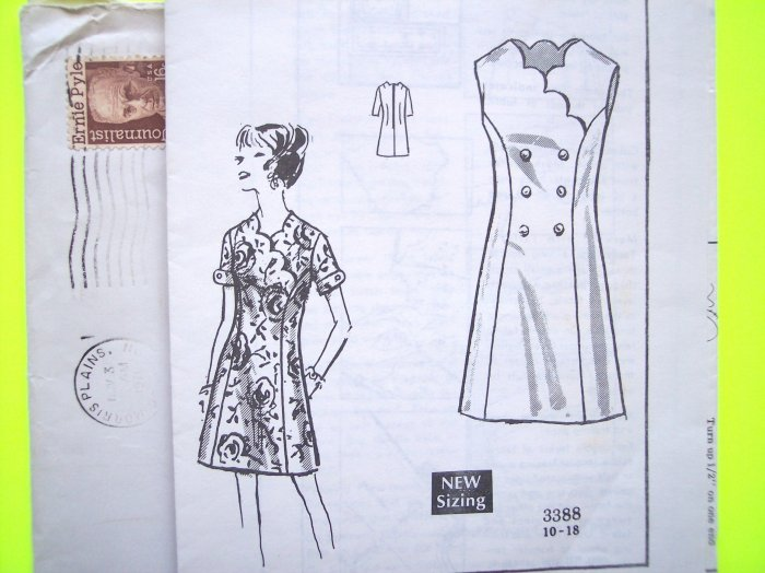 Uncut 70s Scalloped DRESS Princess A Line B 40 Plus Sz  Vintage Mail Order Sewing Pattern 3388