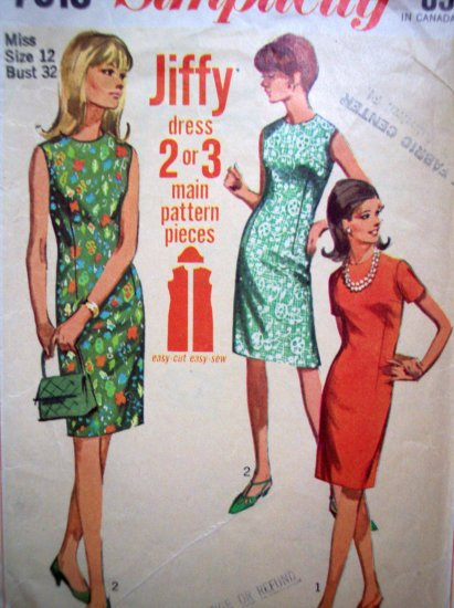 60's Vintage Sewing Pattern Mod Slim Day Dress B 32 Sz 12 Easy Jiffy Simplicity Retro 7010