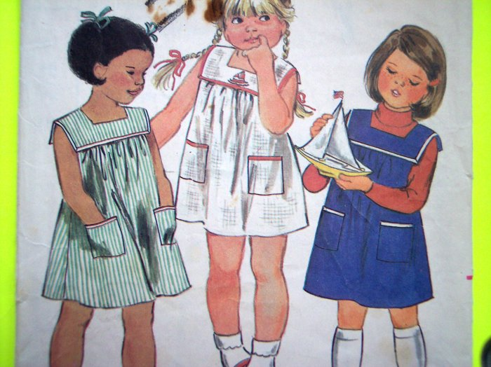 1970's Vintage GIRLS Sailor Tent Dress Sz 4 5 Butterick Childrens Sewing Pattern 3687