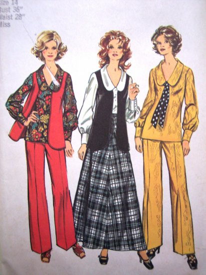 70s Vintage Sewing Pattern B 36 V Neck Long Sleeve Blouse Vest Maxi Skirt Pants Hippie 5302