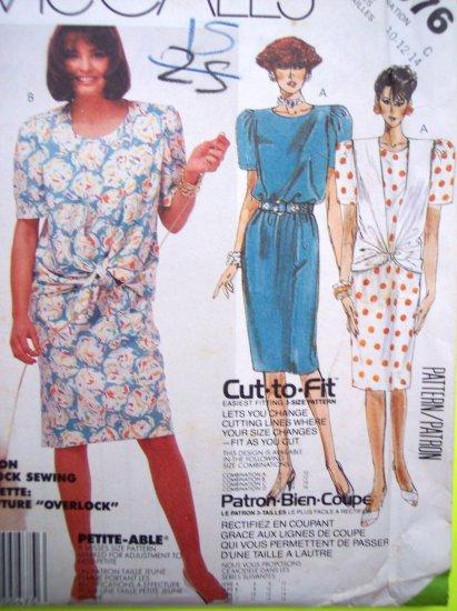 80s Vintage Sewing Pattern Dress Jacket Tie Waist Vest Suit B 32.5 36 Cut To Fit # 2376