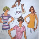 Uncut 1970s Vintage Slim Blouse B 32.5 Tunic Shirt Skinny Top V & Scoop Neck Sewing Pattern 7980