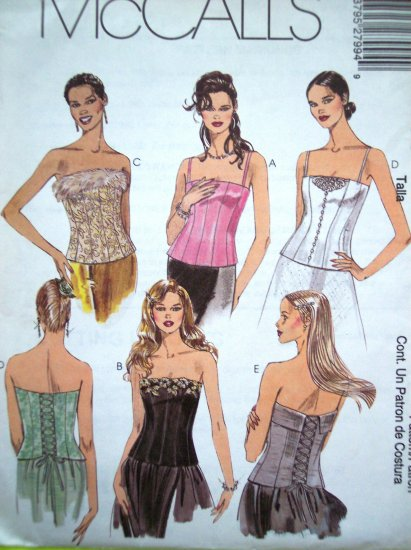 Sexy Bustier Lace Up Tie & Zip Back Corset Sz 6 8 10 Uncut McCalls Sewing Pattern Pattern 2799