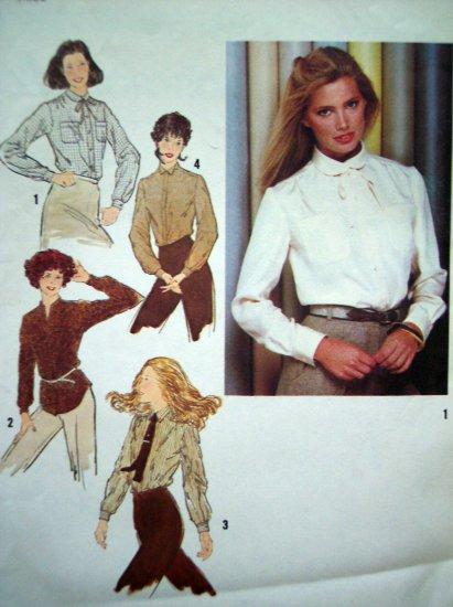 1970's Vintage Shirt B 34 Long Sleeve Blouse Tunic Top Retro Sewing Pattern 9138