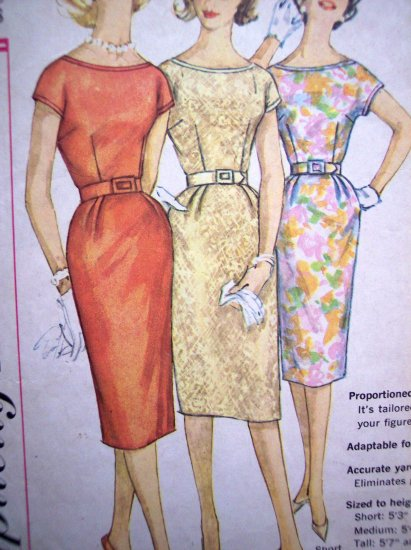50s 60s Vintage 1 Pc Dress Kick Pleat Short Kimono Sleeves Plus Size B 38 Retro Sewing Pattern 3461