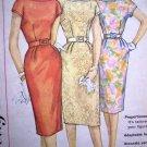 50s 60s Vintage 1 Pc Dress Kick Pleat Short Kimono Sleeves Plus Size B 38 Retro Sewing Pattern 3461
