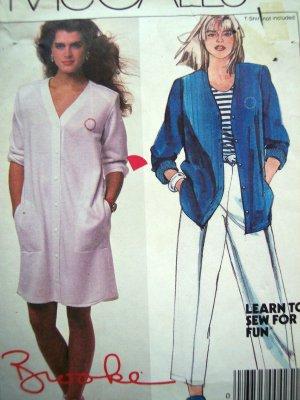 80s Vintage Sewing Pattern Brooke Shields Shirt Dress Pants B 34 Iron On Transfers McCall's 9438