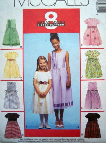 8 Great Girls 4 5 6 DRESS Overskirt Ribbon Sash McCall's Sewing Pattern 3035