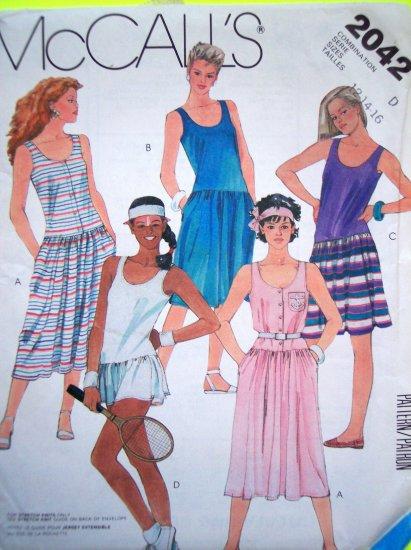 80's Vintage Sewing Pattern Sundress Tennis Dress Drop Waist Mini - Midi Sz 12 14 16 Panties 2042