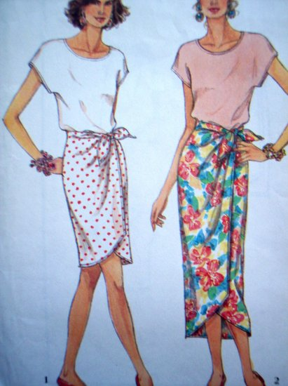 Drape Sarong Pull On Mock Wrap Skirt Knit Blouse Top 6 8 10 12 14 16 Sewing Pattern 8392