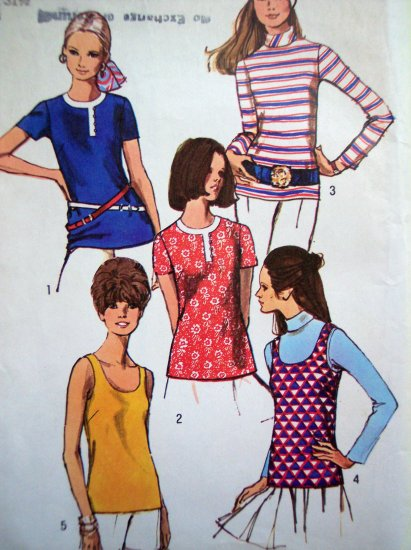 Vintage 70's Sewing Pattern Summer Blouse Slim Tunic Tank Top B 31.5 Long & Short Sleeve # 8834