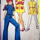 70s Vintage Girls Sewing Pattern 4 T Jumpsuit Mini Tunic Dress Hat Hippie Patterns 2969