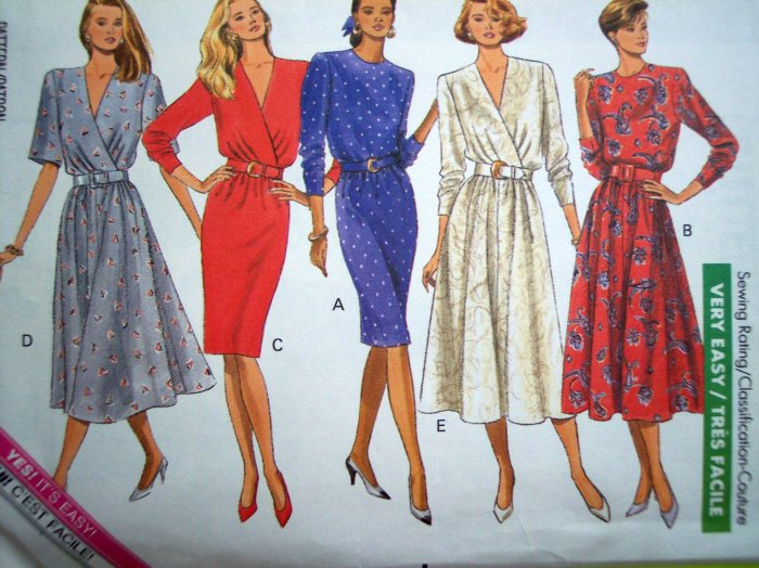 80s Vintage Sewing Pattern Dress Mock Wrap Slim Wiggle or Flared Skirt B 34 36 Easy Couture 4217