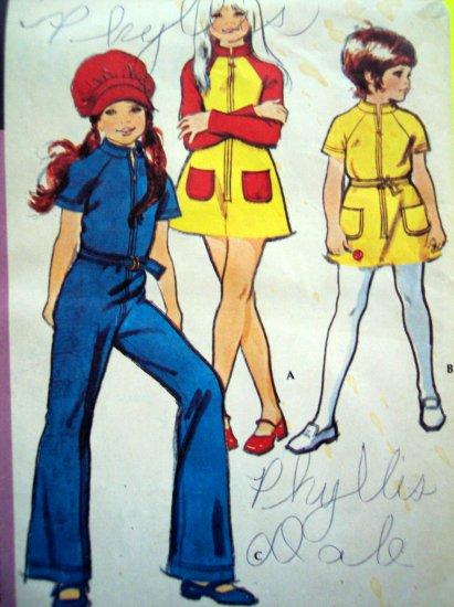 70's Vintage Sewing Pattern Girls Hippie Zip Up Jumpsuit Dress & Hat Retro 2969
