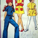 70's Vintage Sewing Pattern Girls Hippie Zip Up Jumpsuit Dress & Hat Retro 2969