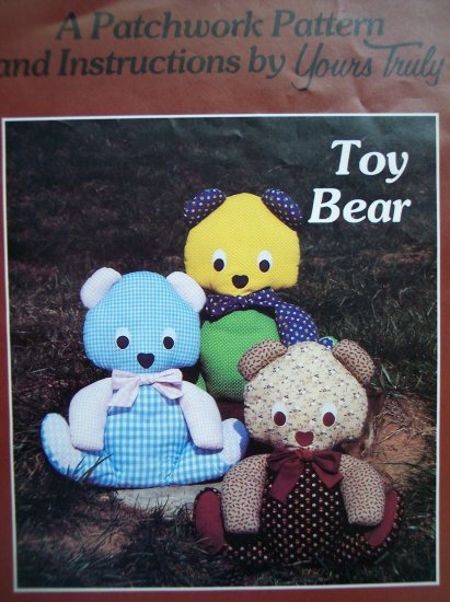 80s Vintage Sewing Pattern Yours Truly Patchwork Toy Teddy Bear Stuffed Animal