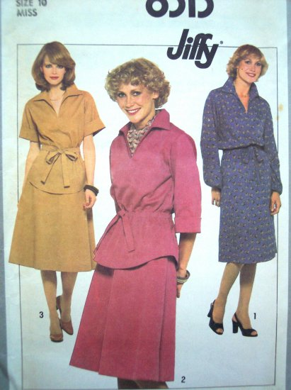 70s Vintage B 32.5 Easy Pullover Dress or 2 pc Tunic & Skirt Simplicity Sewing Pattern 8313