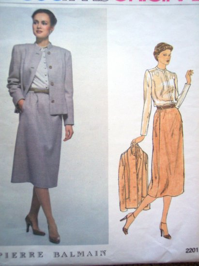 Vintage Vogue Paris Original Designer BALMAIN B 40 Suit Jacket Skirt Shirt Suit Sewing Pattern 2201