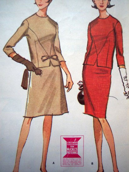 Vintage 60's Sewing Pattern 2 Piece Slim or Full Skirt Retro Sheath DRESS Bust 37 Mod McCalls 7956