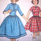 50s Girls Vintage Sewing Pattern Party Dress Full Skirt Sz 8 Detach Collar & Cuffs Simplicity 2630