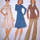 70s Vintage Sewing Pattern Princess Seam Dress V Neck Tunic Top Pants B 32.5 Pantsuit Retro 7177
