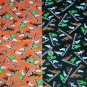 Vintage Halloween Orange & Black Lot Cotton Fabric Ghost Skeleton Witch Cat Spooky Goblins Pattern