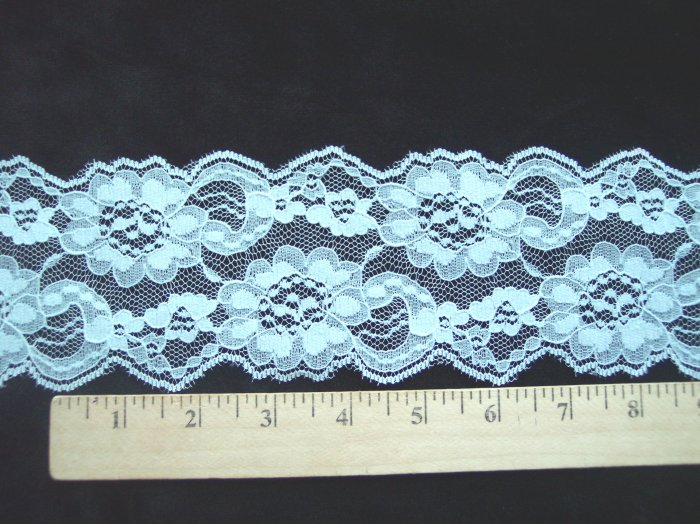 Vintage Flat Lace 2 + Yards Mint Green Floral New 3 1/4 Wide Flowers Pattern Sewing Trim