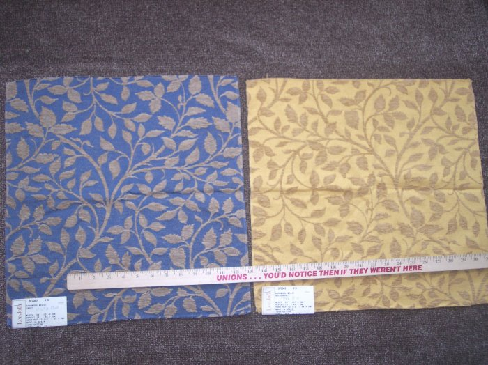 2 New JOFA Cotton Tapestry Leaf Vines Fabric Swatch Arrowood Weave Cadet Blue Goldenrod Gold