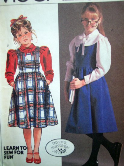 Uncut Vintage 80's Laura Ashley Girls 12 Jumper Dress Blouse Long Puffy Sleeve Top Uncut 8653