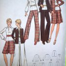 70's B 36 A Line Inverted Pleat Knee or Maxi Length Skirt Jacket Top Pants Vintage Suit Pattern 6842
