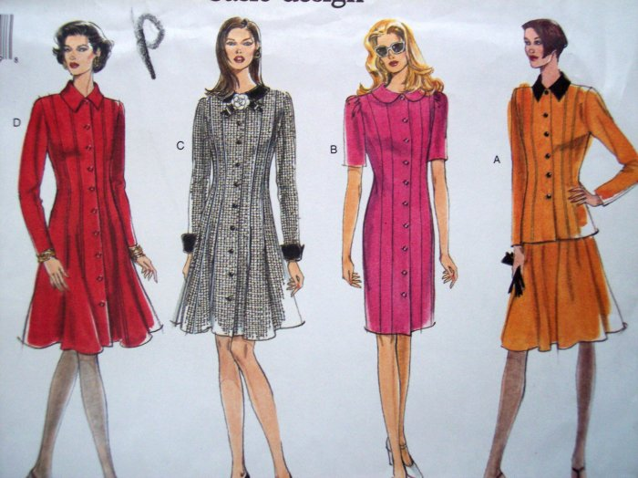 Uncut Vogue Princess Seam Dress Top & Skirt Short or Long Sleeve Sz 6 8 10 Sewing Pattern 1641