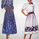 80s Easy Vintage Dress Full Dirndl Skirt Bust 31.5 32.5 34 Short & Long Sleeves Sewing Pattern 6100