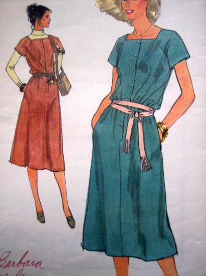 Vogue Vintage Day Dress A Line Shirtwaist Square Neck Raglan Slv B 31 1/2 Retro Sewing Pattern 7057