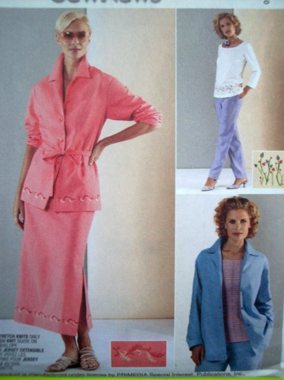 Shirt-Jacket Knit Top Pull on Pants & Skirt Suit Sizes 14 16 18 Uncut McCalls Sewing Pattern 3500