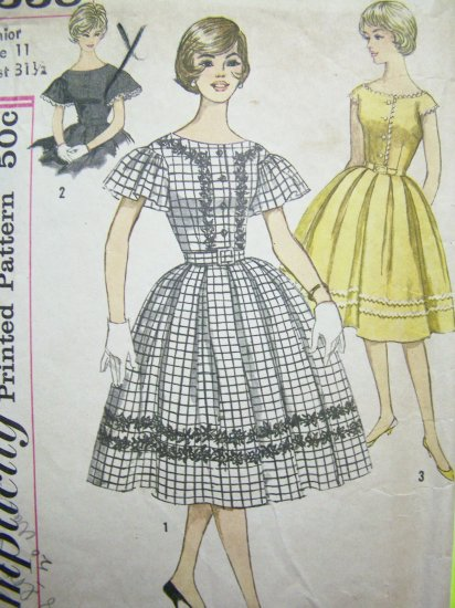 50s Vintage Sewing Pattern Full Skirt Dress Puff Flutter Sleeve Jrs Sz 11 Bust 31.5 Juniors 3338