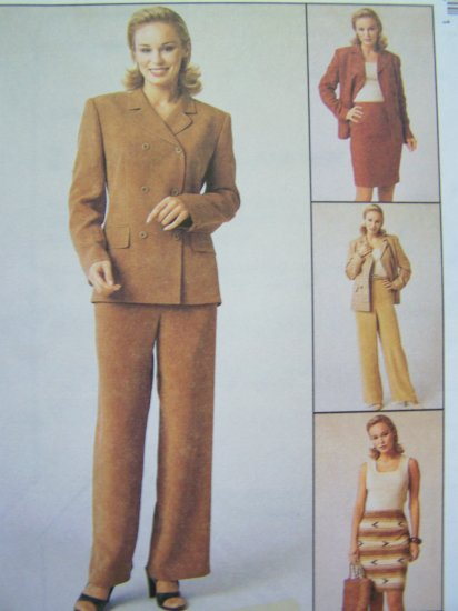 1990's Suit Lined Double Breasted Jacket Pants Slim Skirt Sz 14 Bust 36 Sewing Pattern 9420
