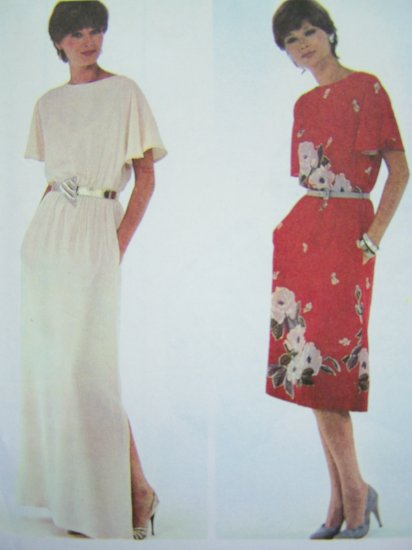 80s Pullover Flutter Sleeve Midi Dress Long Hem Slit Gown Plus Sz 22 24 Vintage Sewing Pattern 7356