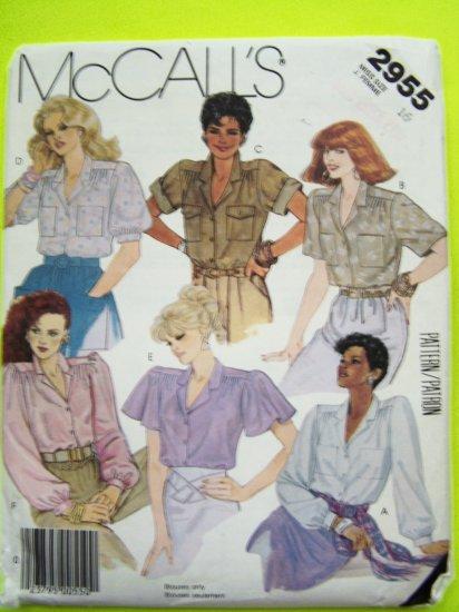 80's Safari Top Blouse Shirt Flutter/Cuff/Roll Up/Short/Long Sleeve B 38 Vintage Sewing Pattern 2955