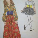 5.00 Sewing Patterns Vintage Girls Sz 10 Hippie Dress Boho Peasant Cinch Belt Gypsy Costume 6003